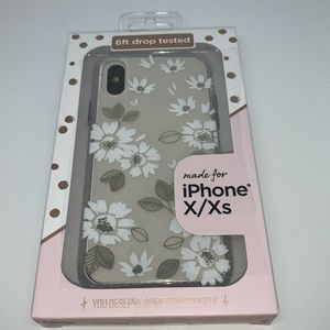 Fellowes iPhone X/XS Flower Case WHITE/GOLD/CLEAR